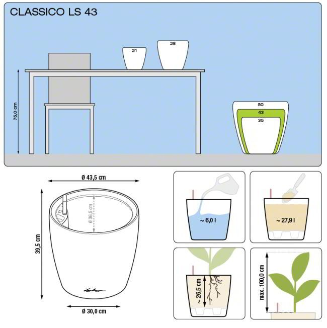 Lechuza Classico Premium 43 LS - Antraciet Metallic