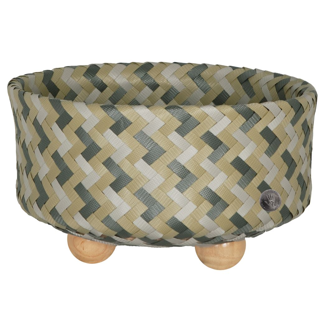Handed By Ronde mand met houten voetjes - Camel Mix with S