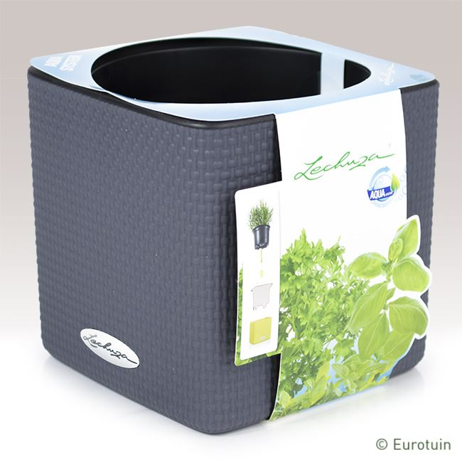 lechuza kruidenpot cube color 14 leisteengrijs online tuinwinkel. Black Bedroom Furniture Sets. Home Design Ideas