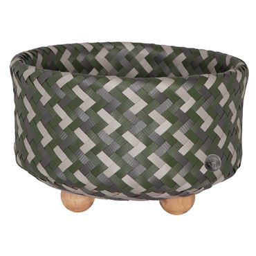 Handed By Ronde mand met houten voetjes - Hunting green Mix with S