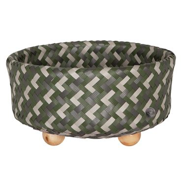 Handed By Ronde mand met houten voetjes - Hunting green Mix M