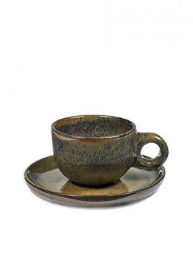 Sergio Herman Set van 4 Cafe Lungo Tassen Surface Met Ondertas Indi Grey - Giftbox