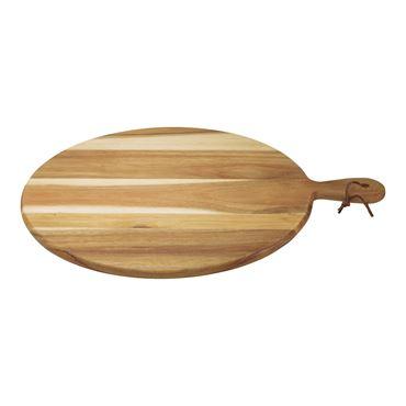 Dagelijkse Kost ronde serveerplank met handvat uit acaciahout met koord 50cm