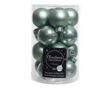 Kerstballen glas eucalyptus 16st