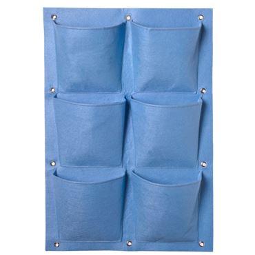 Plantentas van vilt 6 vakken Blauw