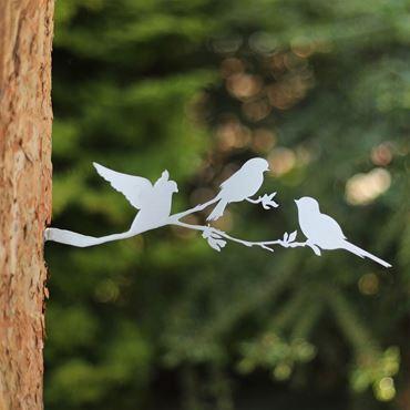 Vogelsilhouet op bloesemtak RVS 32 x 11 cm